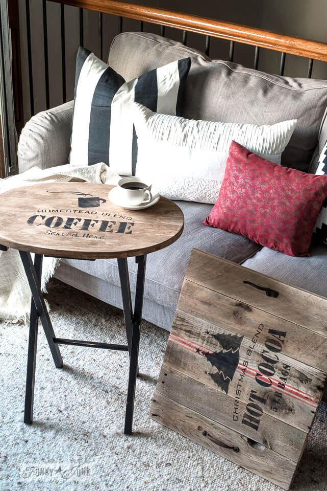 Rustic Wooden Coffee Table and Platter