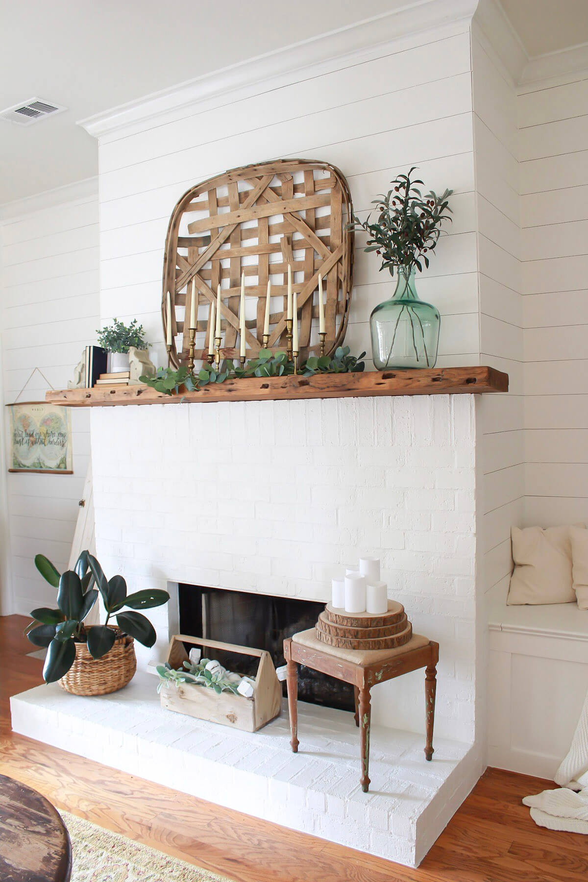 Hearth Arrangement with a Variety of Plants