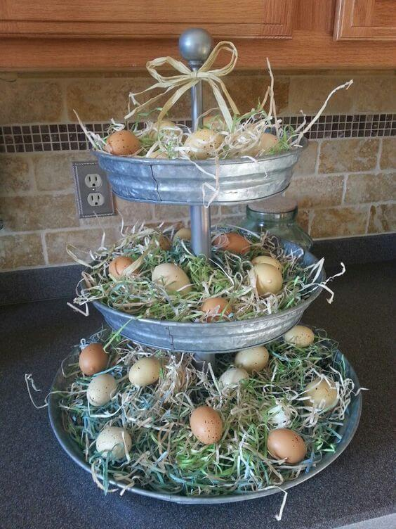 Galvanized Metal Tiered Easter Egg Nest