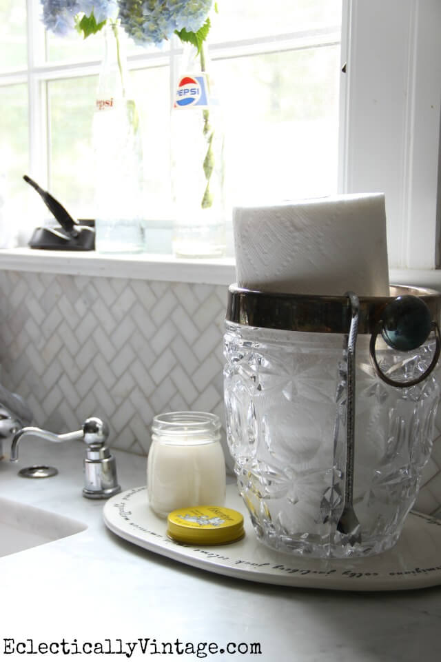 Elegant Cut Glass Holder for Paper Towels