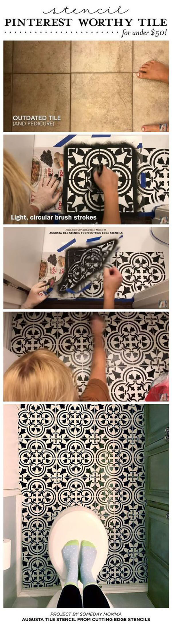 Create Old World Mosaic Floor with Stencils