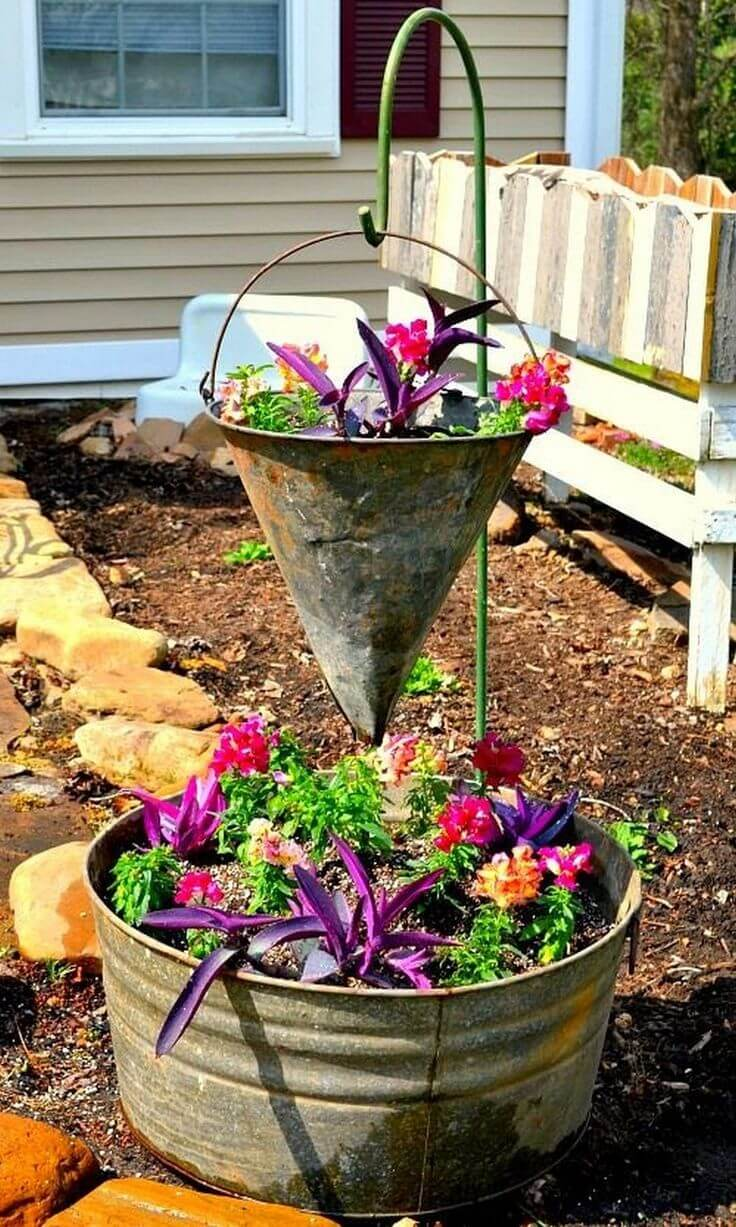 Two Level Arrangement with Funnel and Pail