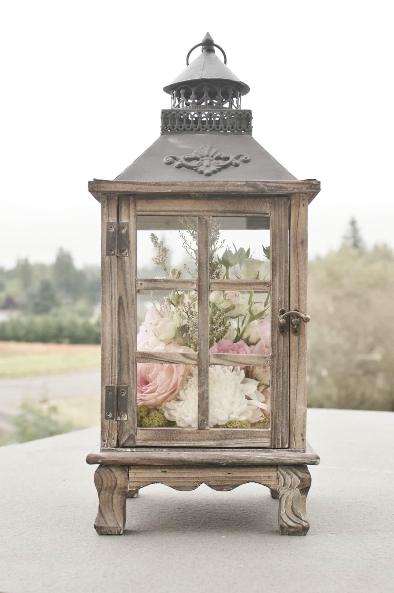 Rustic Lantern with Flower Arrangement