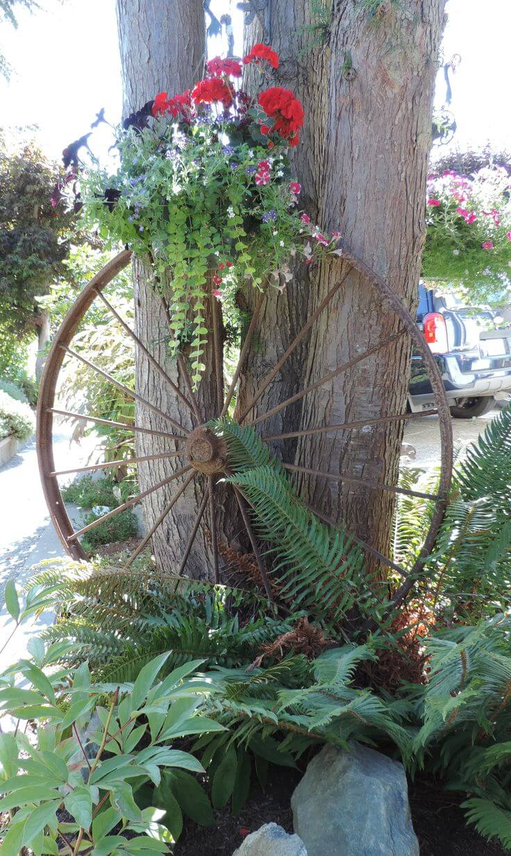 Antique Wagon Wheel Flower Display