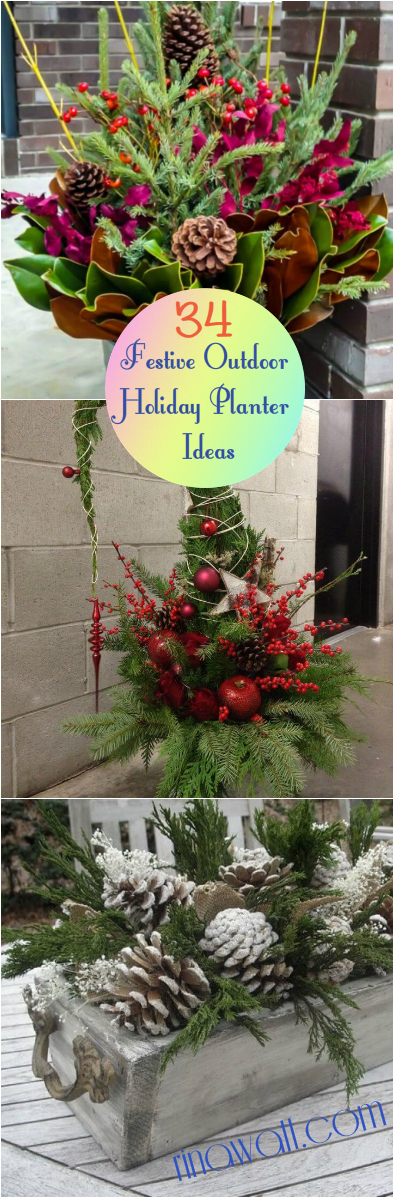 Christmas Planters For Front Porch.34 Festive Outdoor Holiday Planter Ideas To Decorate Your