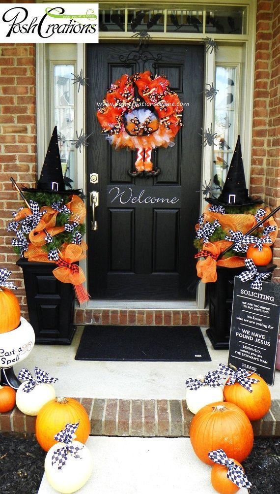 Witch's Wreath Halloween Door Idea