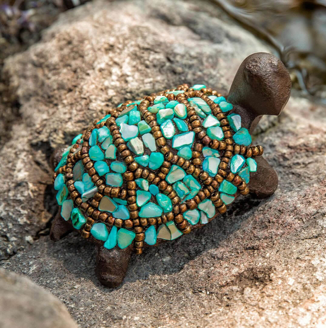 Quirky Garden Turtle with Turquoise Stones