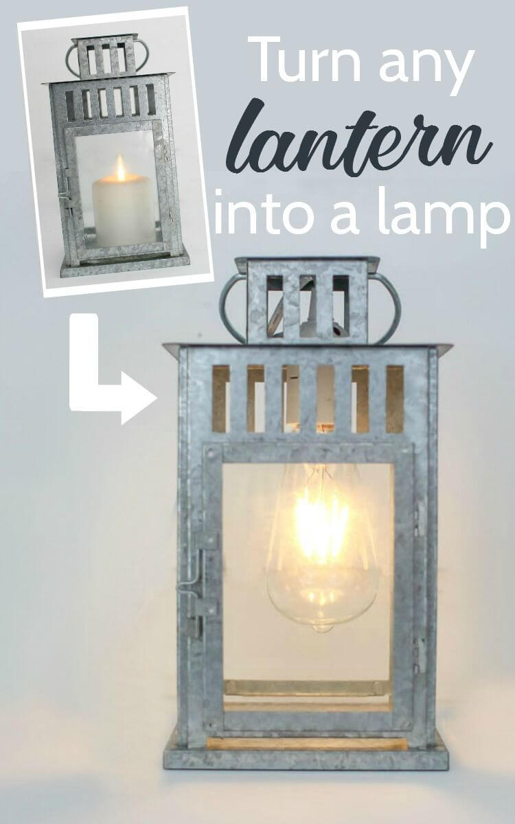 Hammered Metal Lamp With Antique Bulb