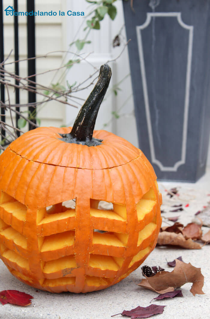 Feather Carved Pumpkin