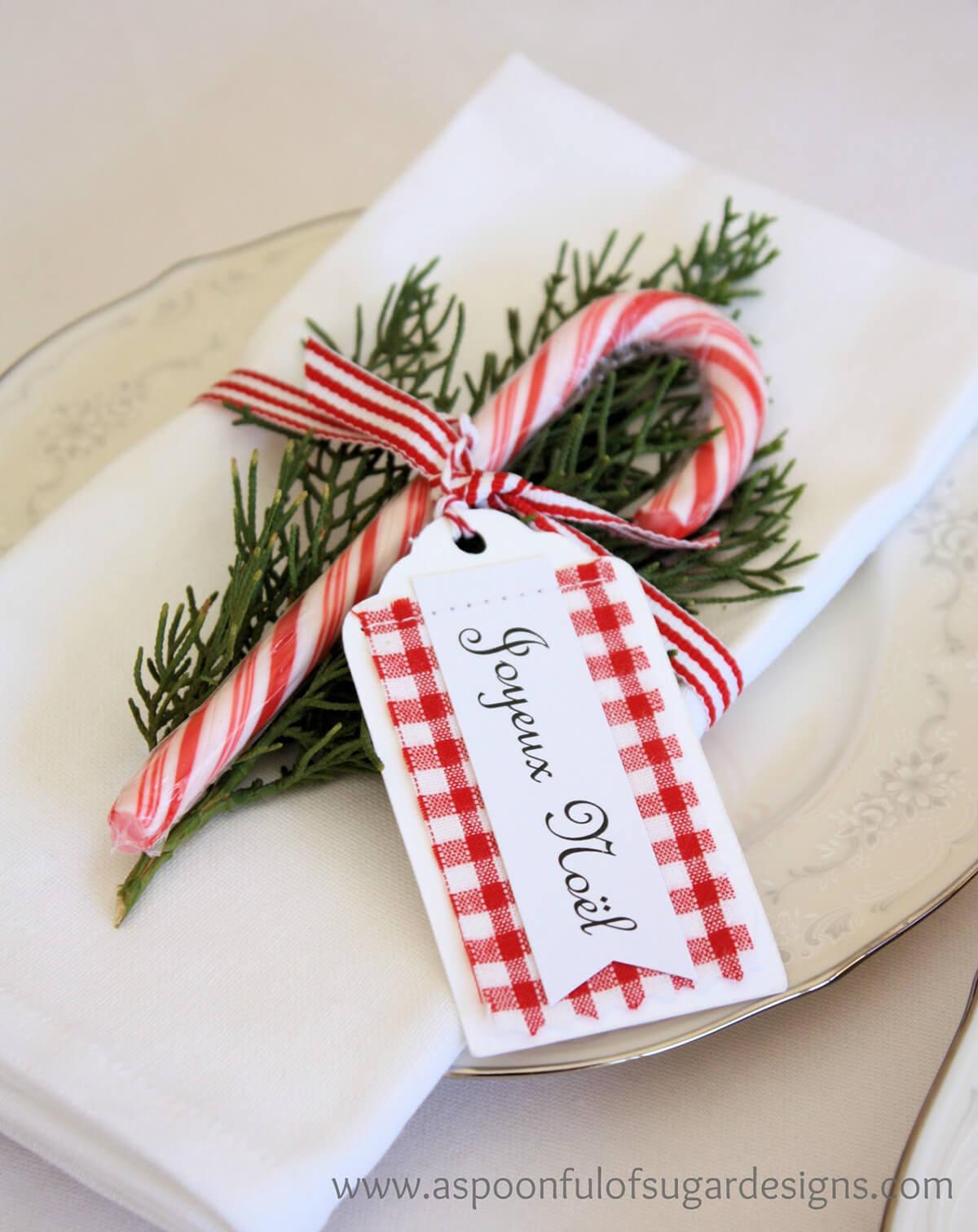 Joyeux Noel Candy Cane Napkin Favors
