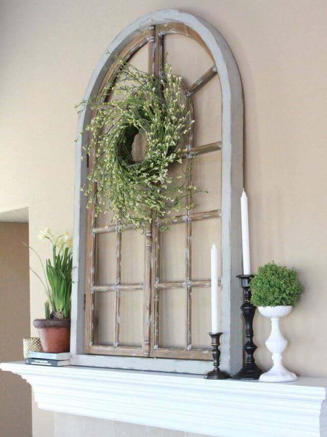 Baby's Breath Spiral Wreath on Rustic Window