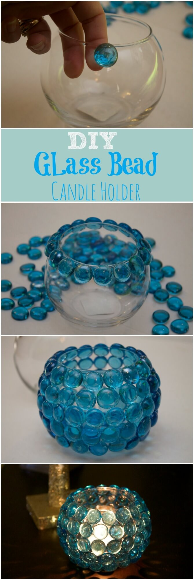 Candle Holder with Pretty Glass Gems