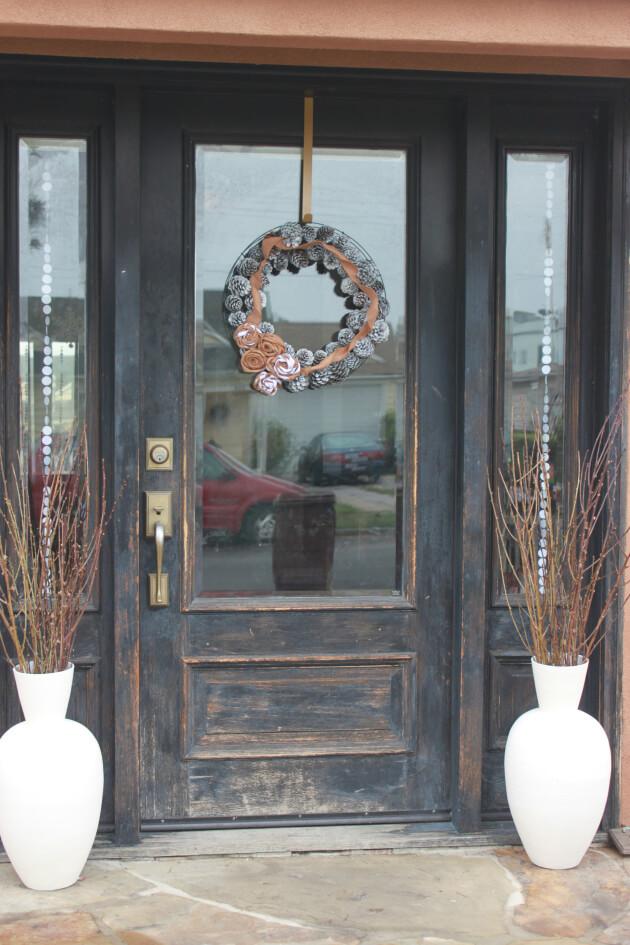 Varnished Rustic Black Front Door