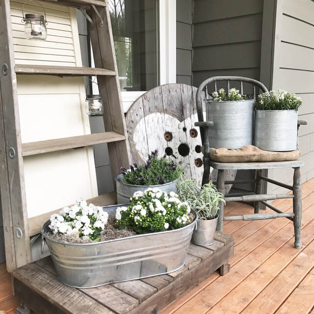 Metal Washtub with White and Greenery Arrangements