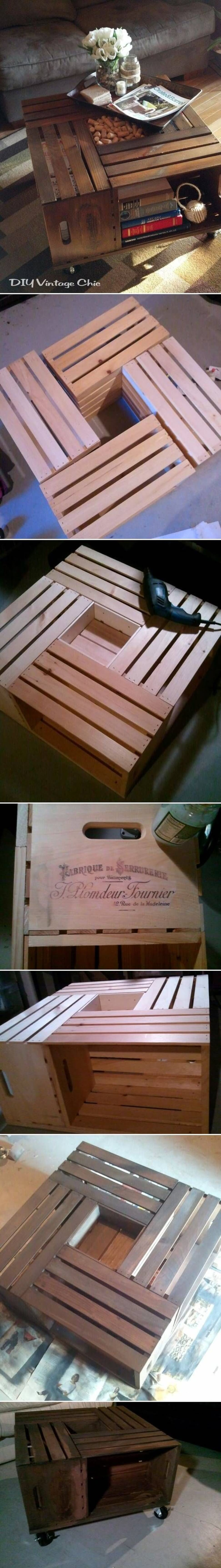 Vintage Wood Crate Coffee Table