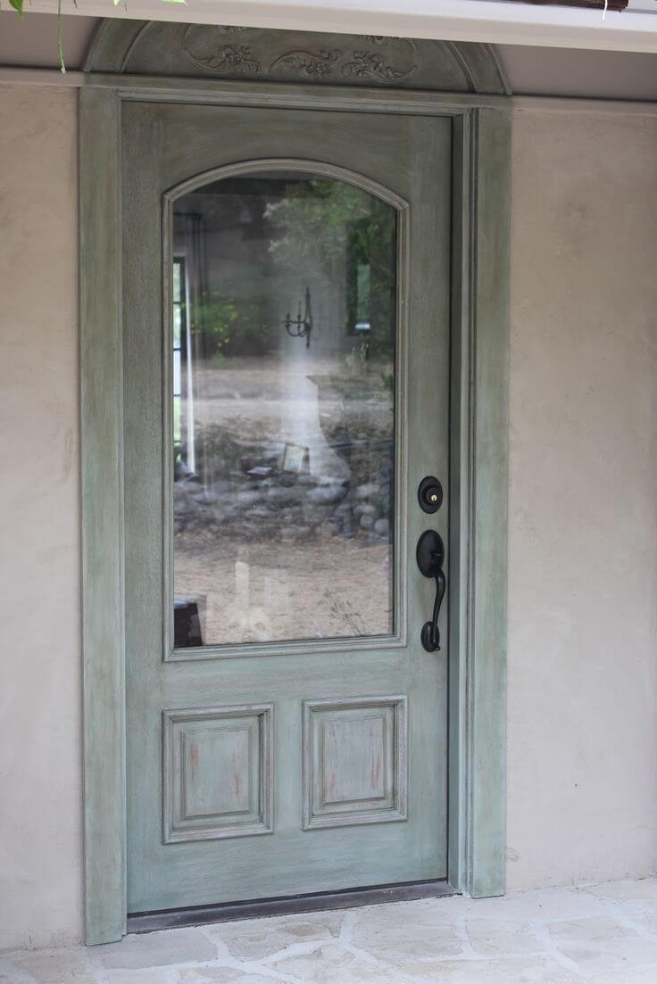 Simple Rustic Blue Whitewashed Front Door