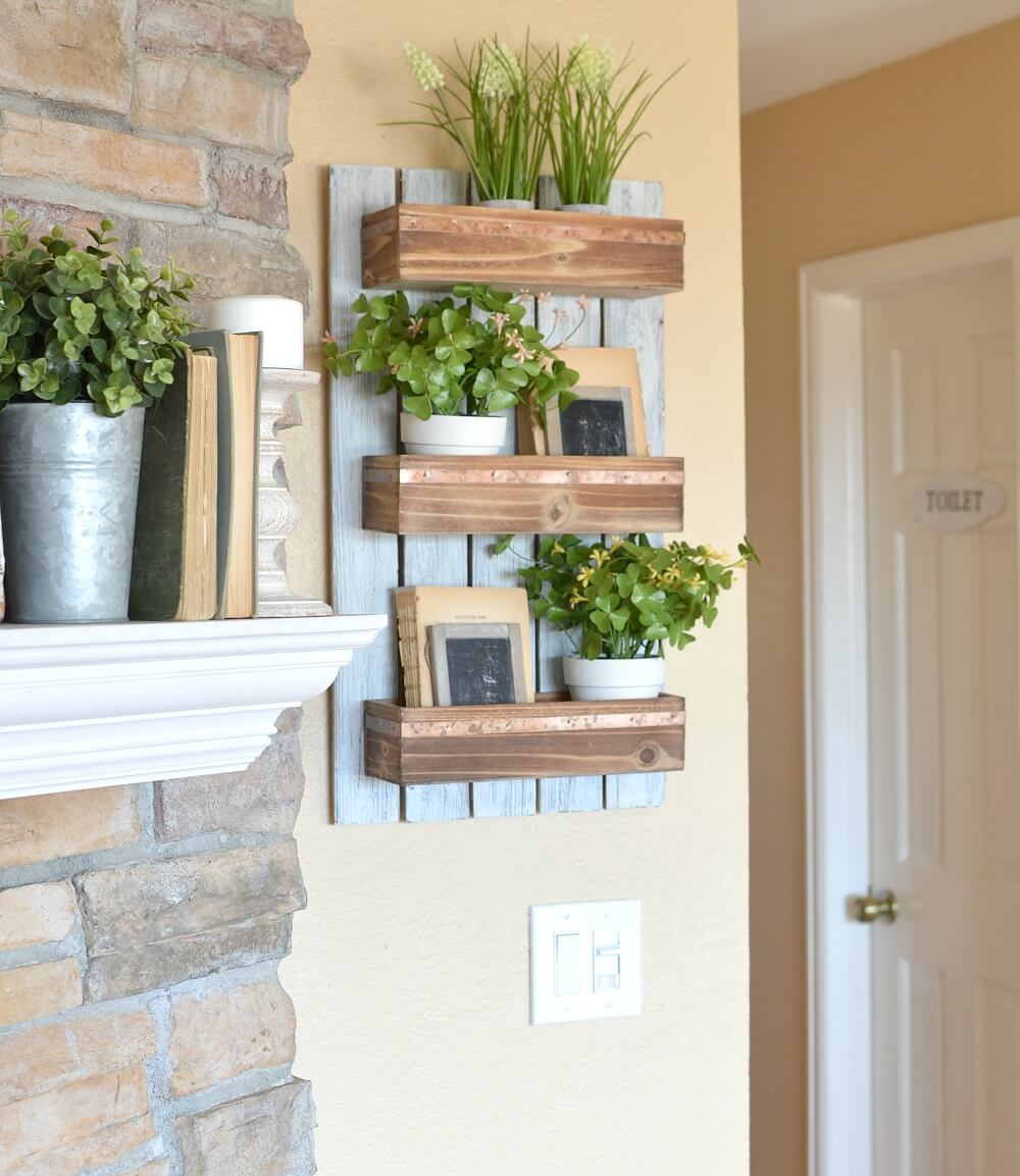 Wooden Rack with Three Levels and Plant Pots