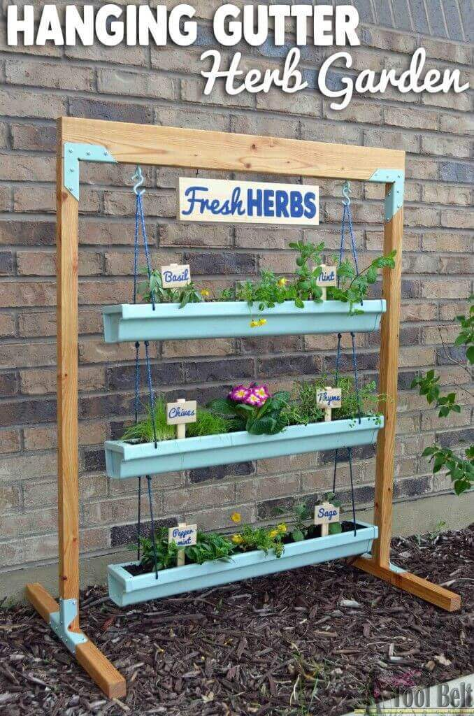 Easy DIY Rain Gutter Herb Garden