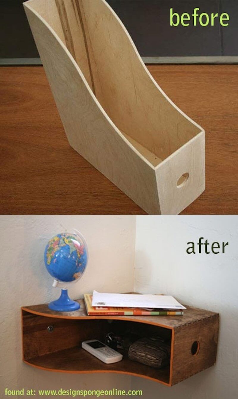 Wooden Filing Stand Turned Into Wall Shelf