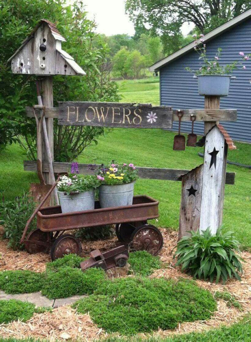 Rusted Wagon and Weathered Sign