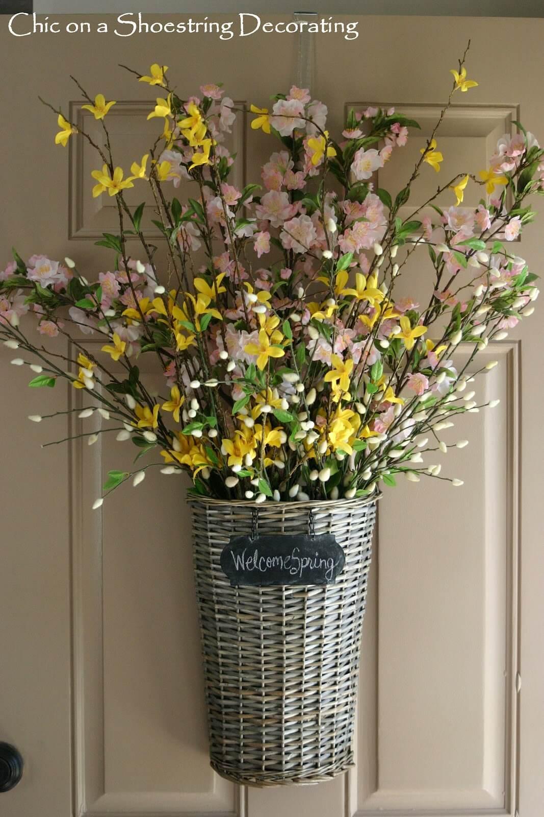 Door Basket with Pink and Yellow Arrangement