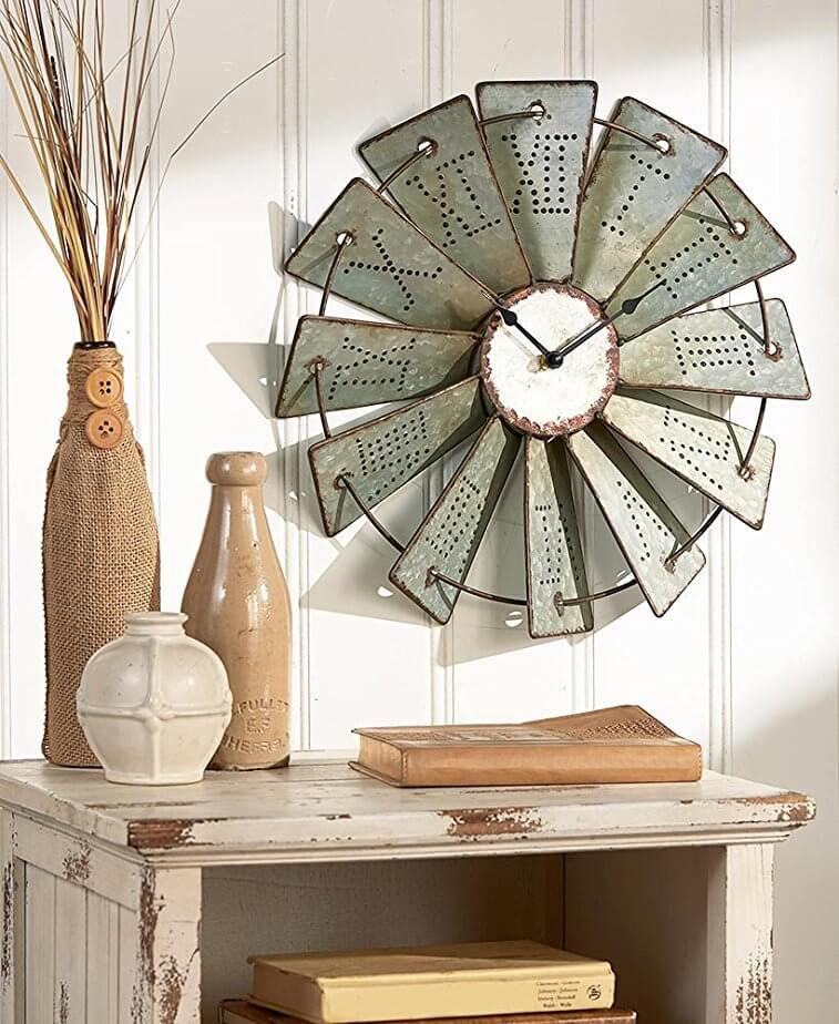 Roman Numeral Punched Tin Windmill Clock