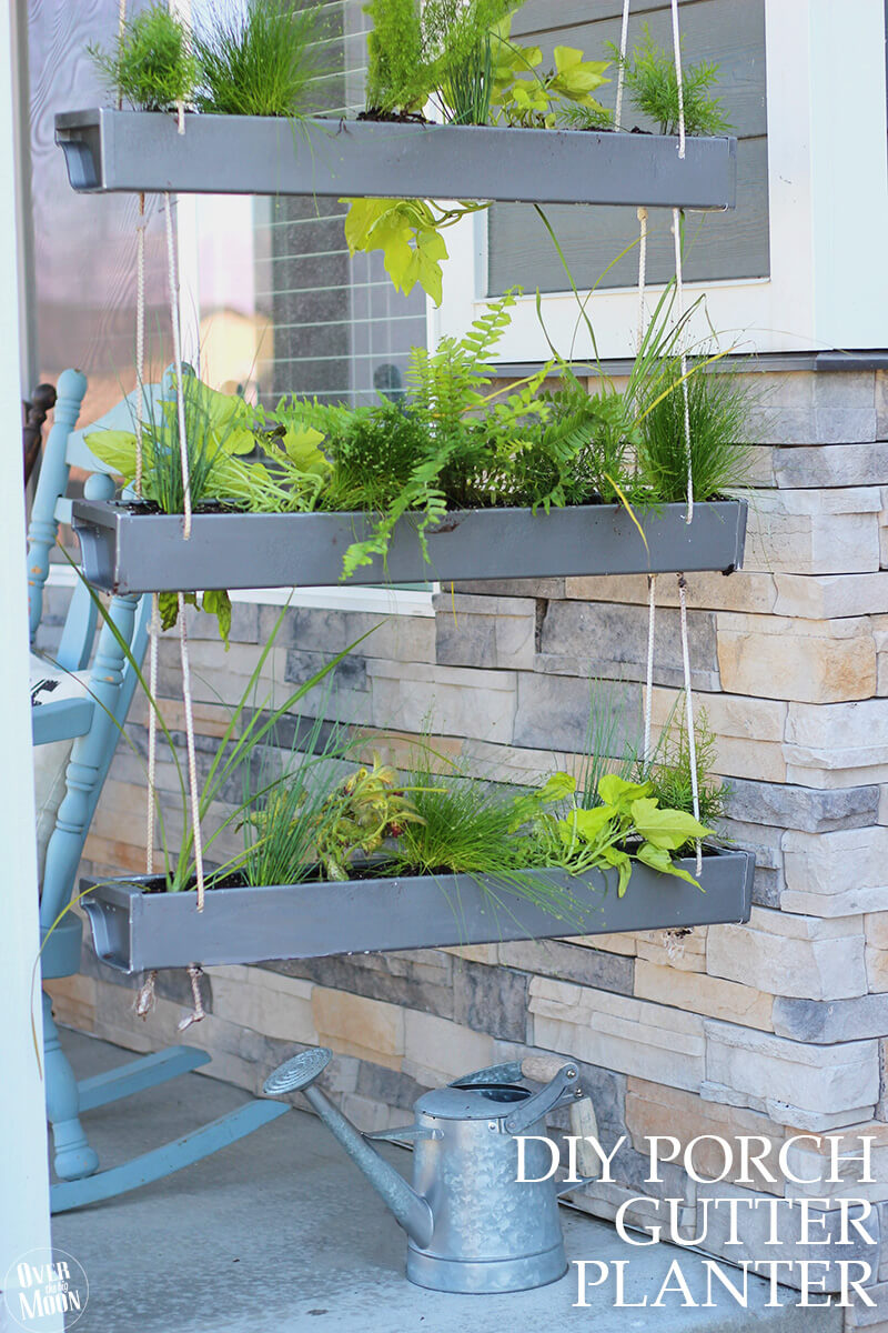 Make Your Own Hanging Gutter Planter