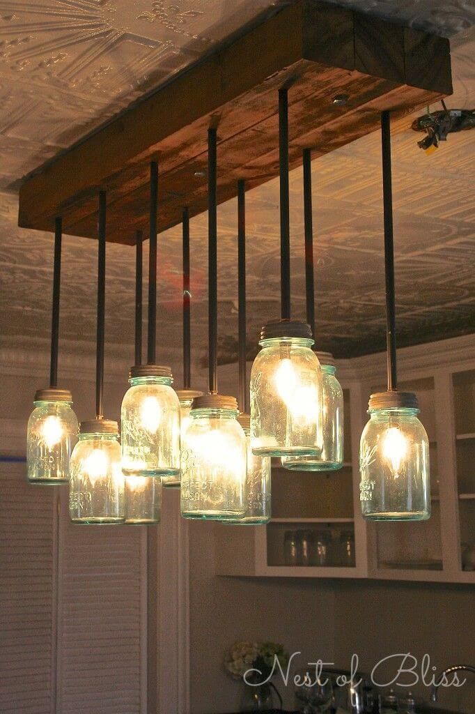 10 Light Fruit Jar Hanging Fixture