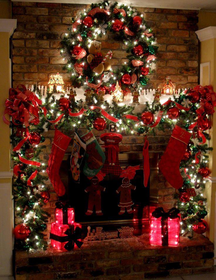 Floor-to-Ceiling Twinkle Lights Fireplace Display
