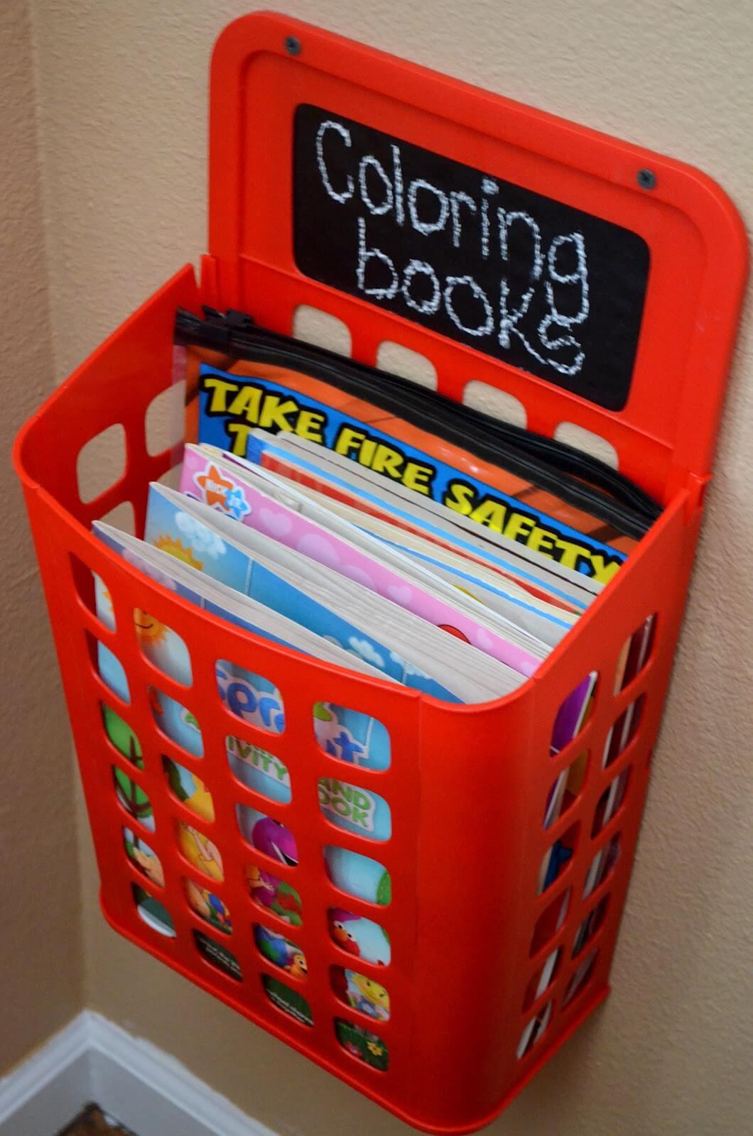 Fun Wall-Mounted Coloring Book Corral