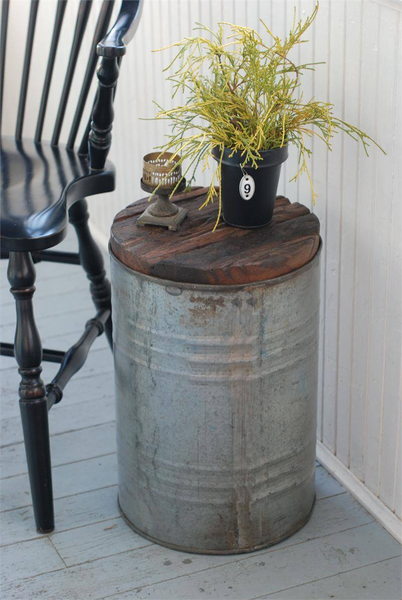 Rustic Tin Pail Wood-Top Table