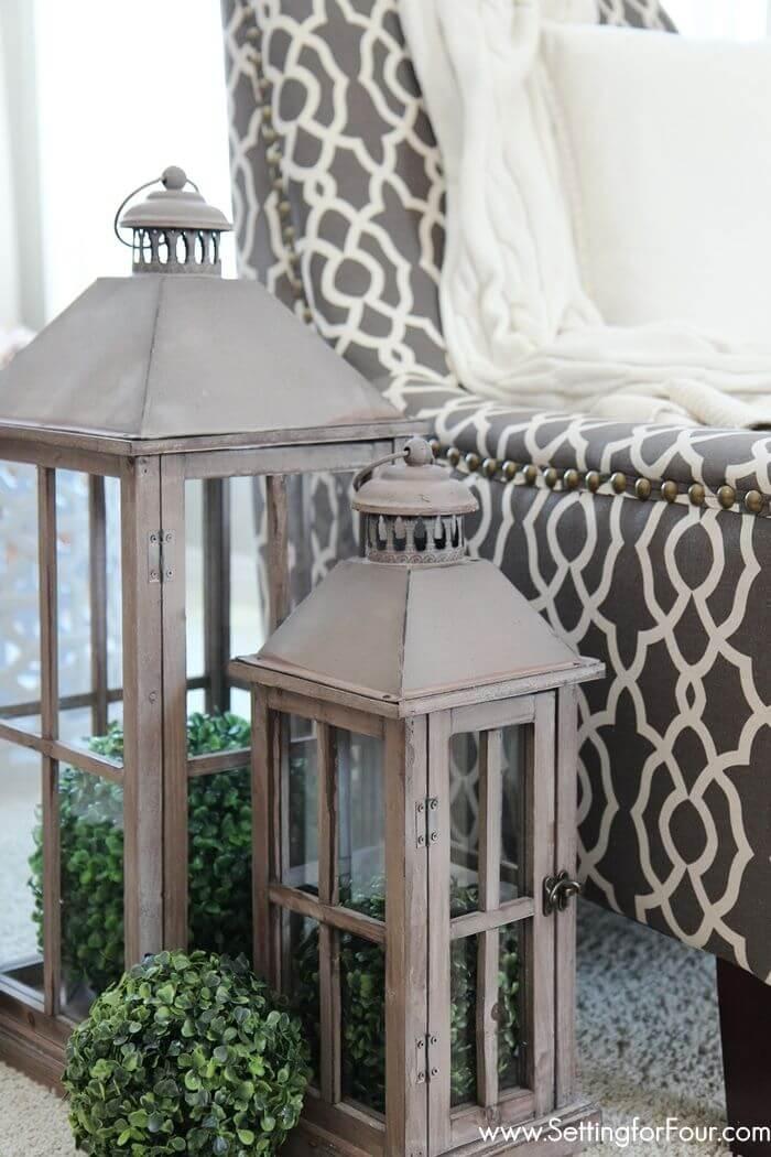 Rustic Lanterns with Greenery Arrangements