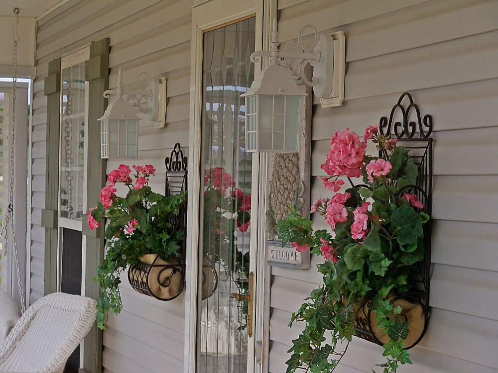 Wrought Iron Wall Planters with Geraniums