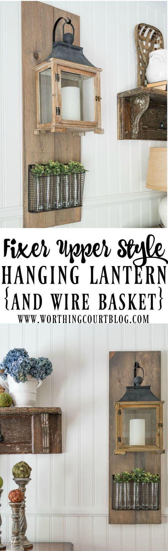 Wall-Hanging Lantern and Plant Display