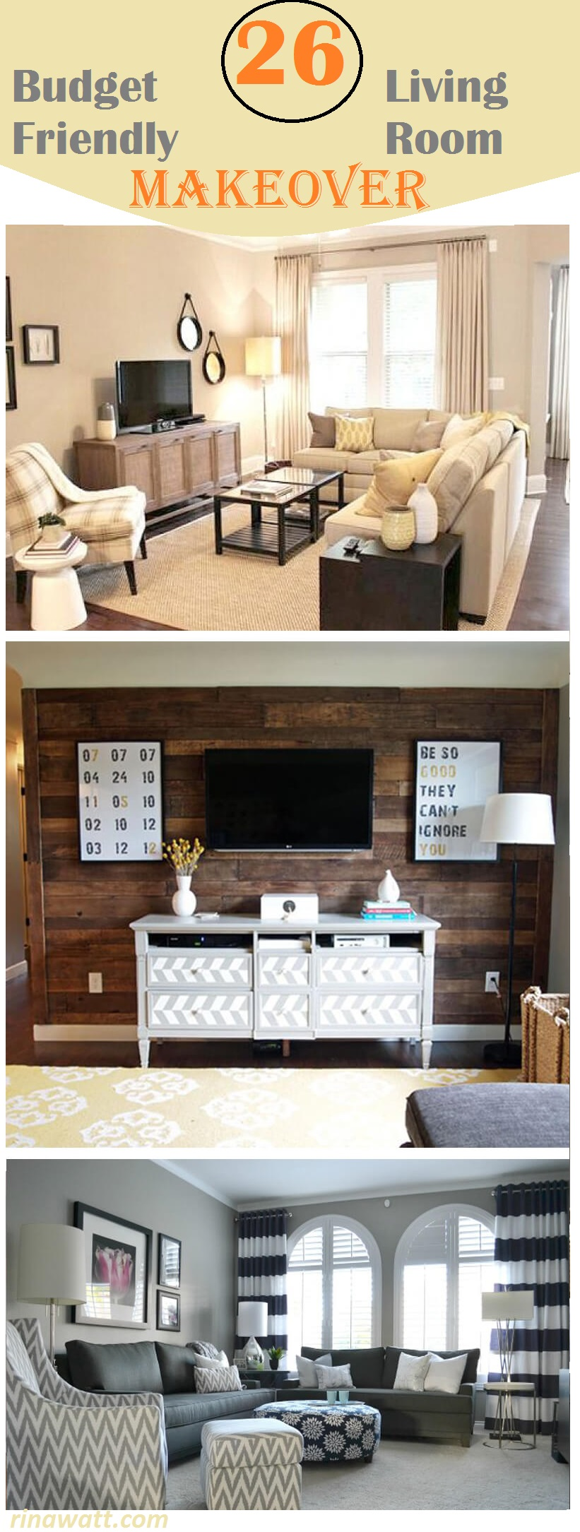 Image of: Before And After 26 Budget Friendly Living Room Makeovers To Inspire You Rina Watt Blogger Home Decor Diy And Recipes