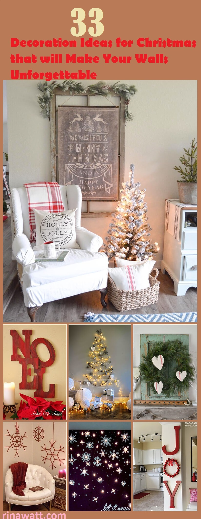 33 Festive Christmas Wall Decor Ideas That Will Instantly Get You Into The Holiday Spirit Rina Watt Blogger Home Decor Diy And Recipes
