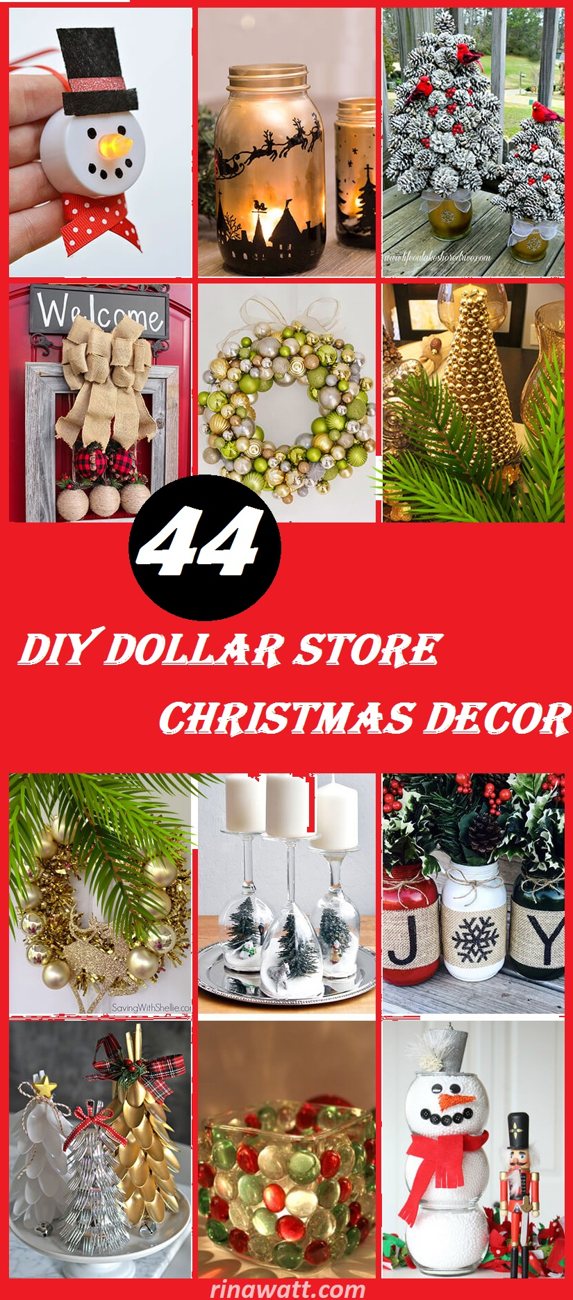 44 Easy Diy Dollar Store Christmas Decorations For Decorating On A Budget Rina Watt Blogger Home Decor Diy And Recipes