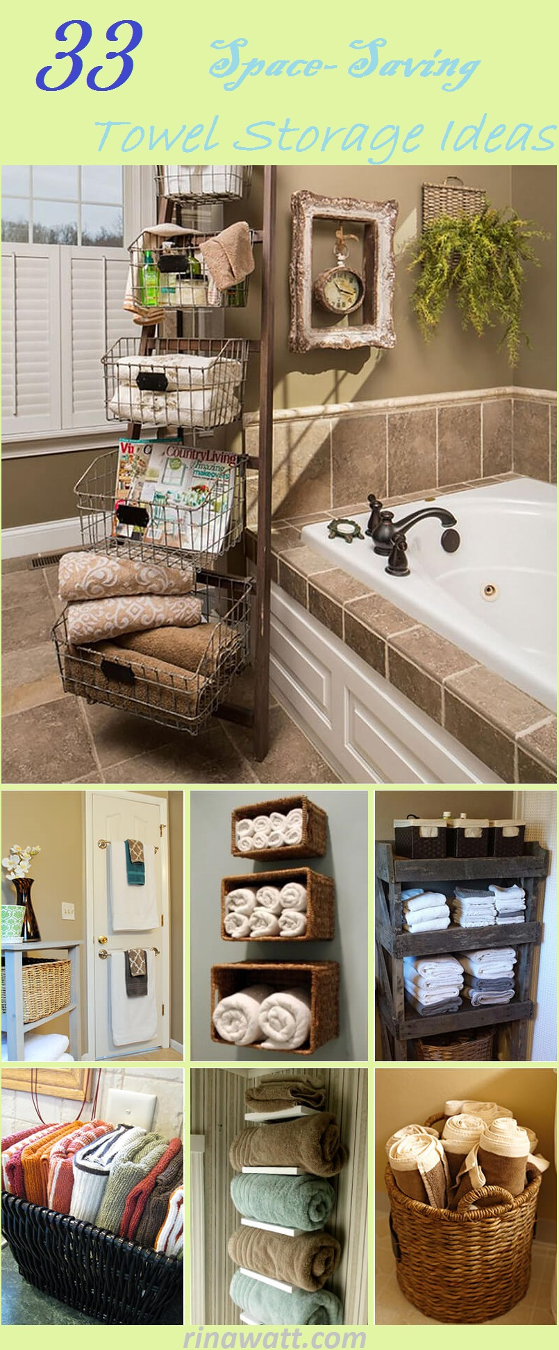 33 Space Saving Towel Storage Ideas For Your Bathroom Rina Watt Blogger Home Decor Diy And Recipes