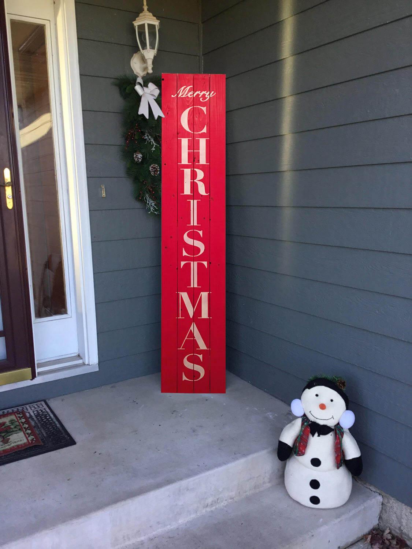 Vertical Merry Christmas Front Door Sign