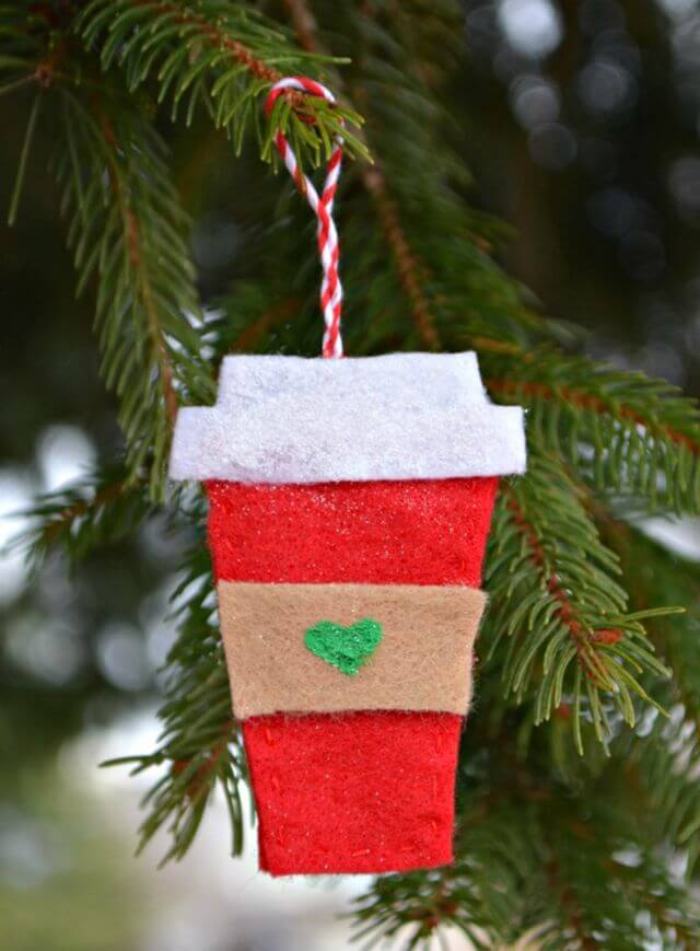 Festive Felt Coffee Cup Ornament