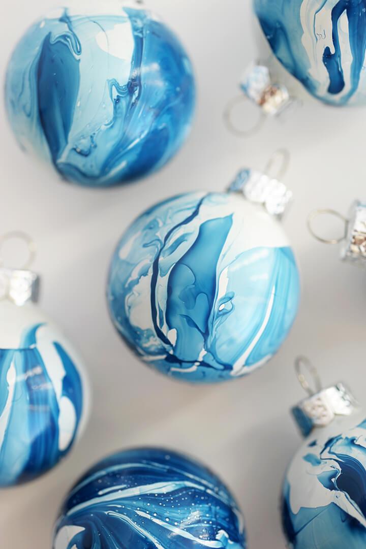 Vibrant Marbled DIY Paint Ornaments