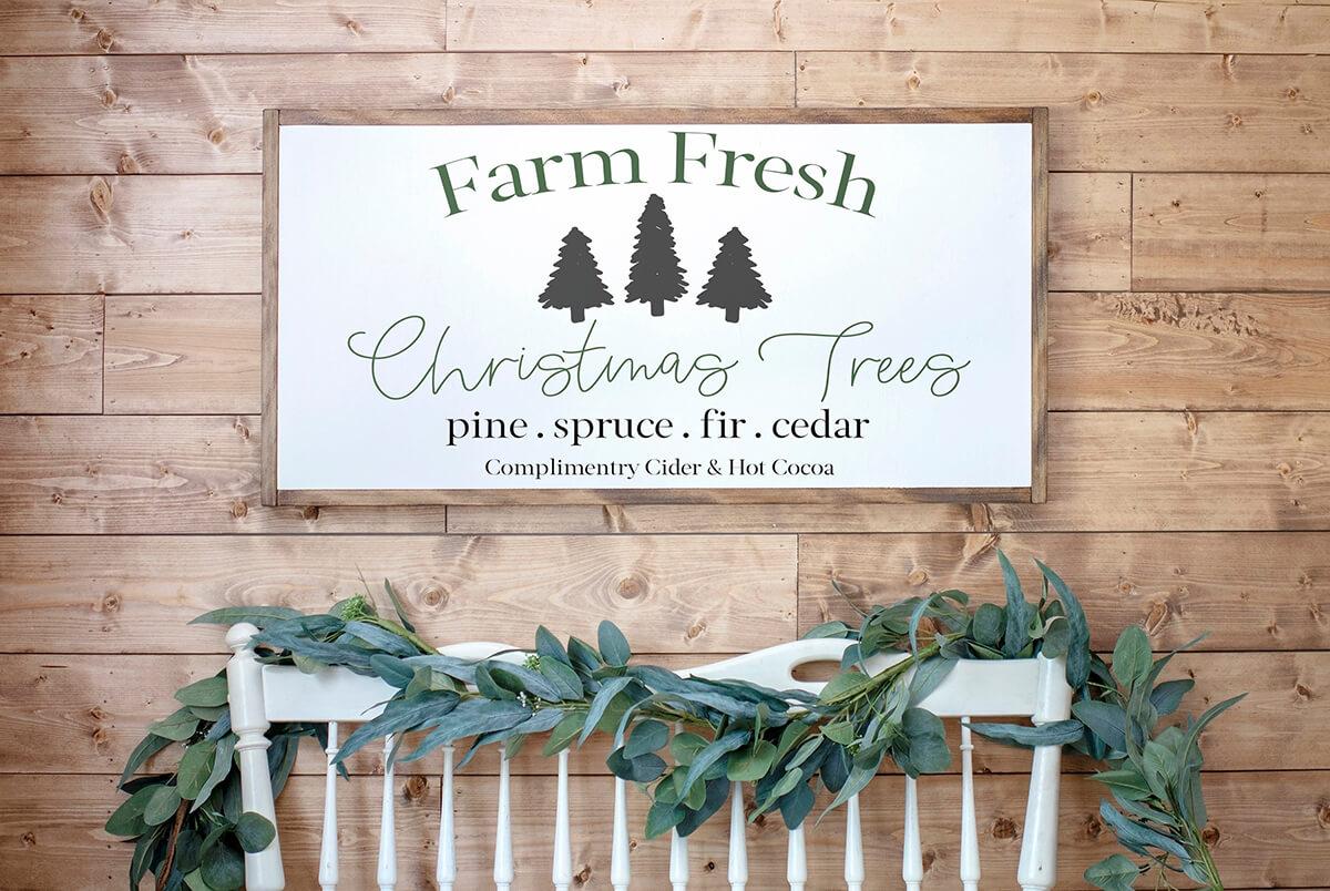 Distressed Farm Fresh Christmas Tree Sign
