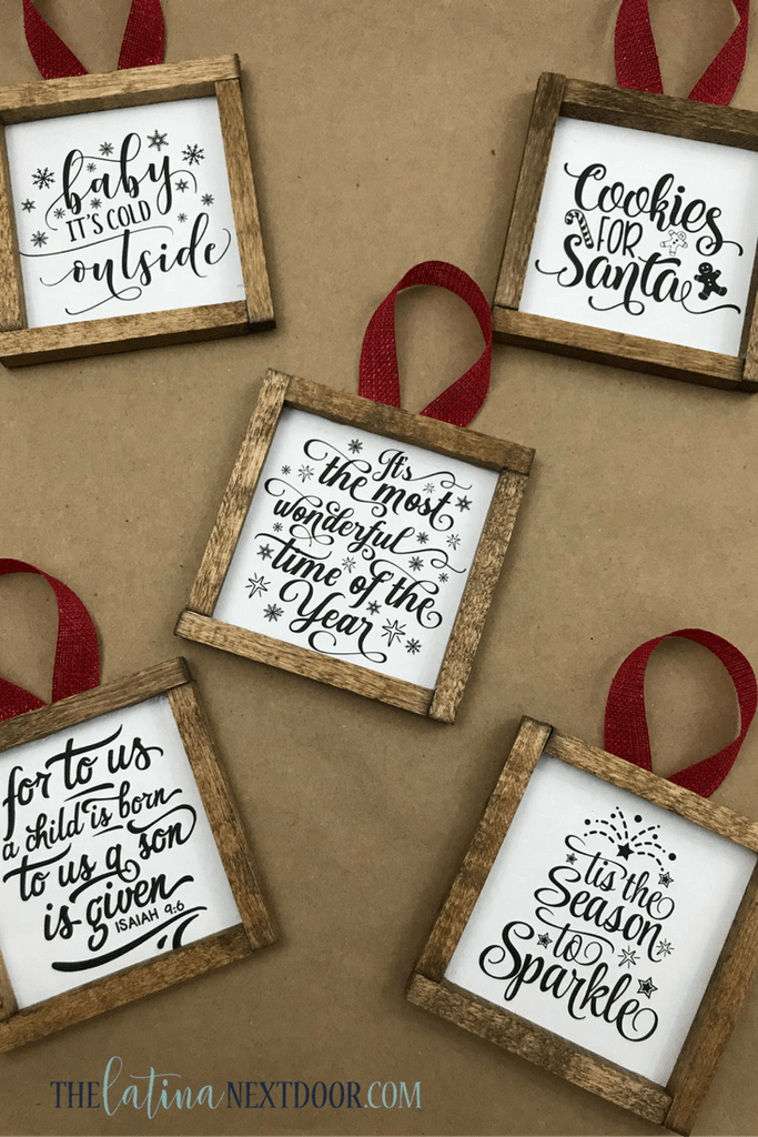 Wood-framed Quote Ornament for the Holidays
