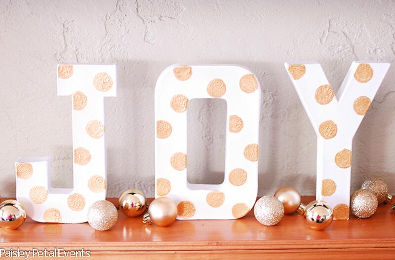 Beautiful Joy Mantle Decor with Bulbs