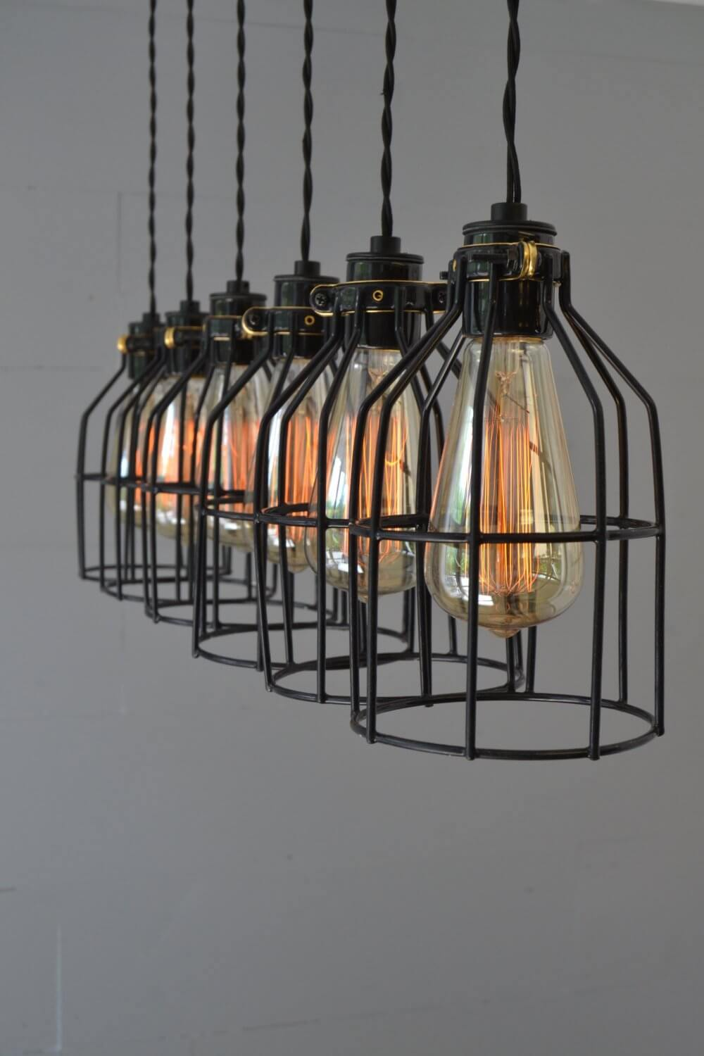 Industrial Black Wireframe Chandelier with Wooden Base