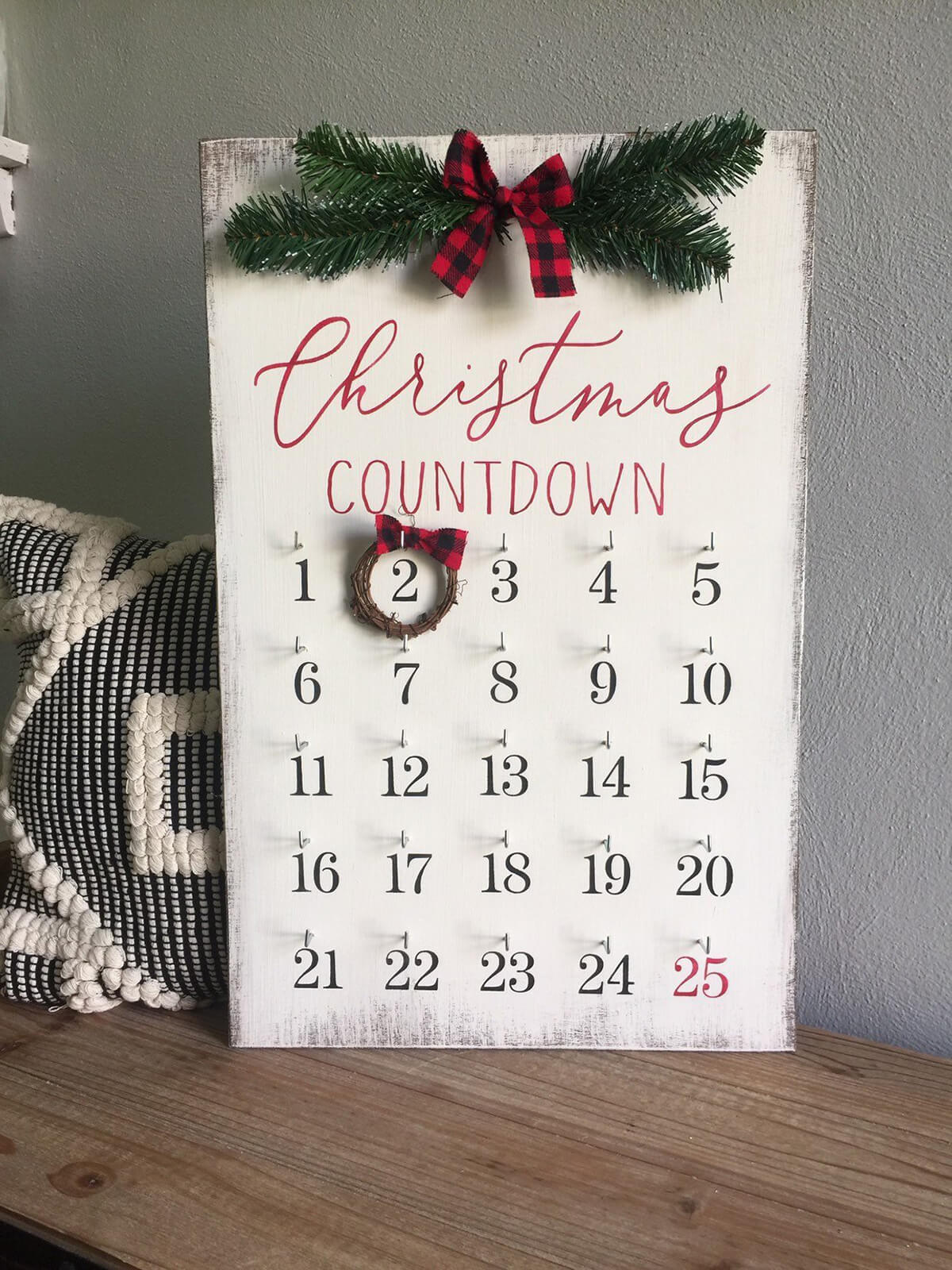 Wooden Christmas Countdown Calendar Display
