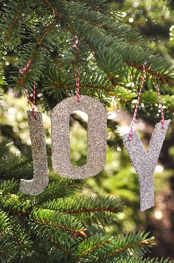 Decorate the Tree with Glittered Lettering