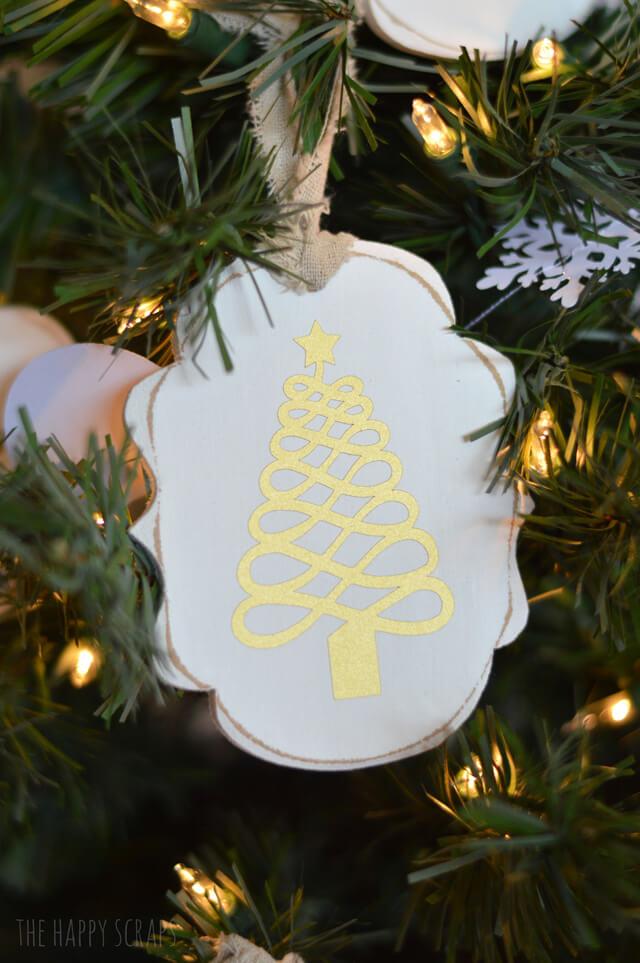Geometric Traditional Gold Christmas Ornament