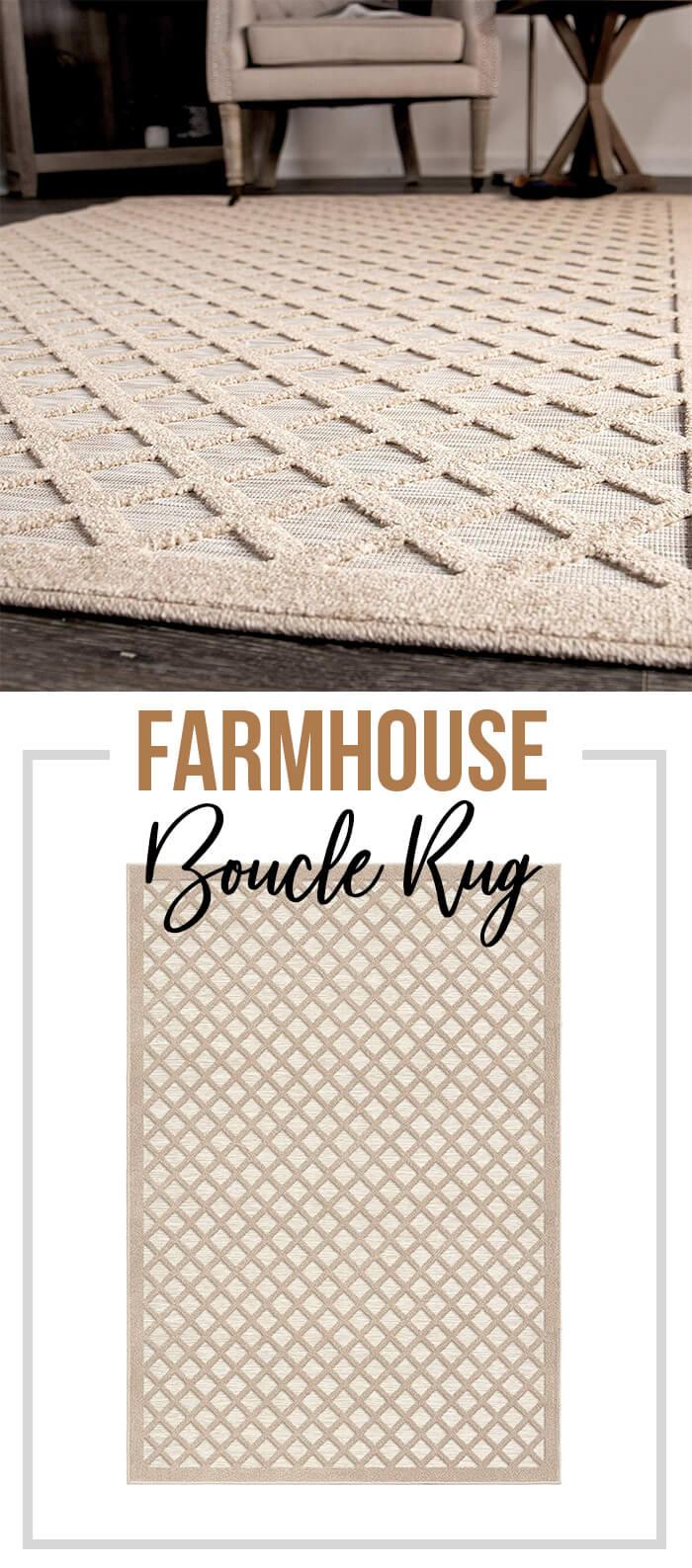 Indoor/Outdoor Farmhouse Boucle Area Rug