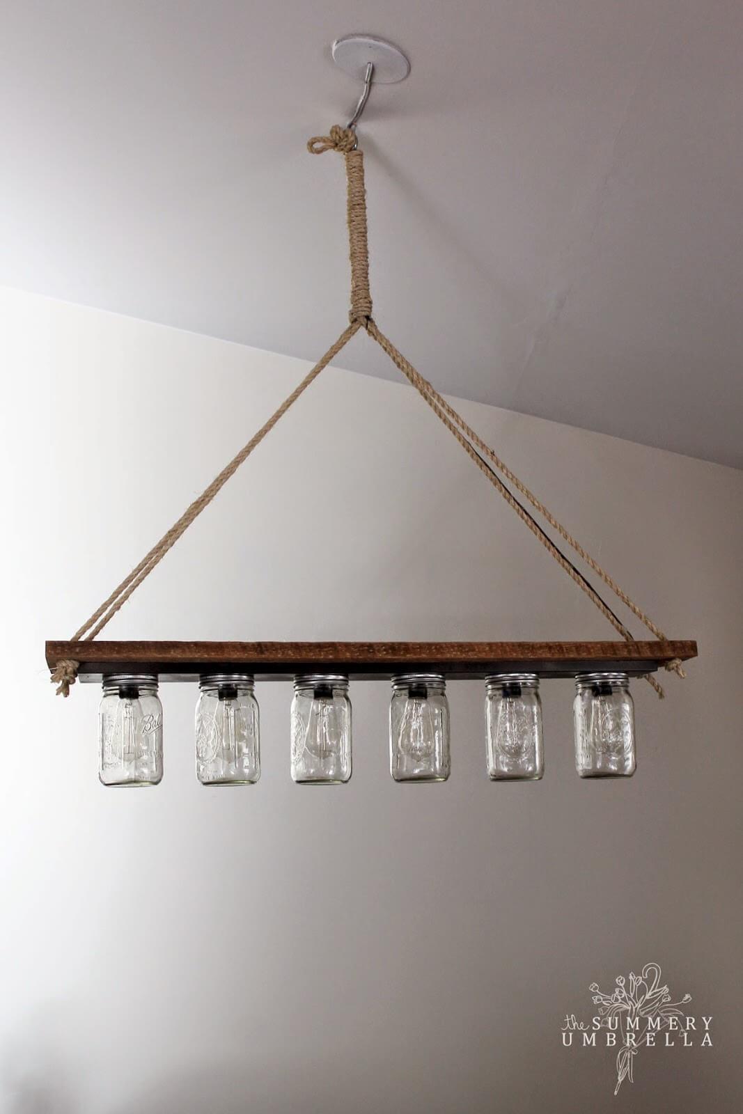 Wood and Mason Jar Linear Light